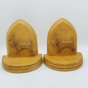 Other - VTG Wooden Solid Maple Scottie Dog Bookends